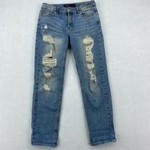 Just USA Jeans Juniors 1 Blue Boyfriend Distressed Leg Mid Rise Medium W... - $18.95