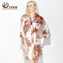 Large Floral Silk Satin Wedding Bride Bridesmaid Robe Bathrobe Short Kimono Gown - $25.00