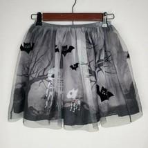H&M Girls Halloween Skirt 8 9 10 Black Tulle Bats Skeletons October Cost... - £15.28 GBP