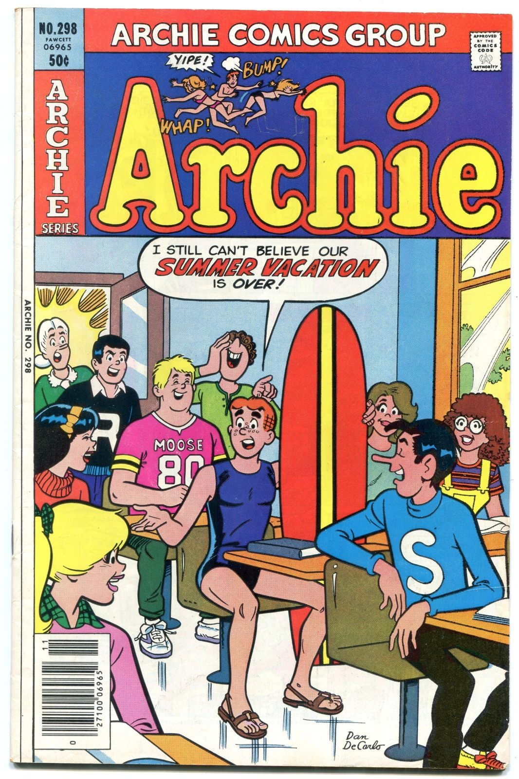 Archie Comics #298 1980- Betty & Veronica- Decarlo surfboard cover