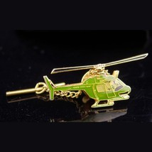 ARMY helicopter Tie Tack / Vintage Gold green enamel / aviation / milita... - $70.00
