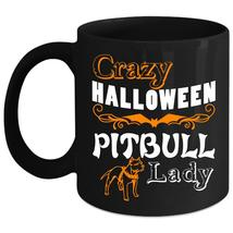 Crazy Halloween Pitbull Lady Coffee Mug, Cute Pit Bull Lady Coffee Cup - $21.99