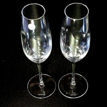 "2 (Two)  TIFFANY & CO CLASSIC Crystal 9"" U Shape Fluted Champagne Glasses-Signed image 2"