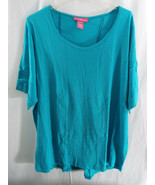 Women's Plus Size 3X (30/32) Semi Sheer Linen-Blend Hi-Low Hem Shirt Oce... - $13.65