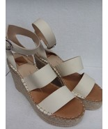 Dolce Vita Women's White Stella Leather Wedge Sandals Size 9.5 - $58.11