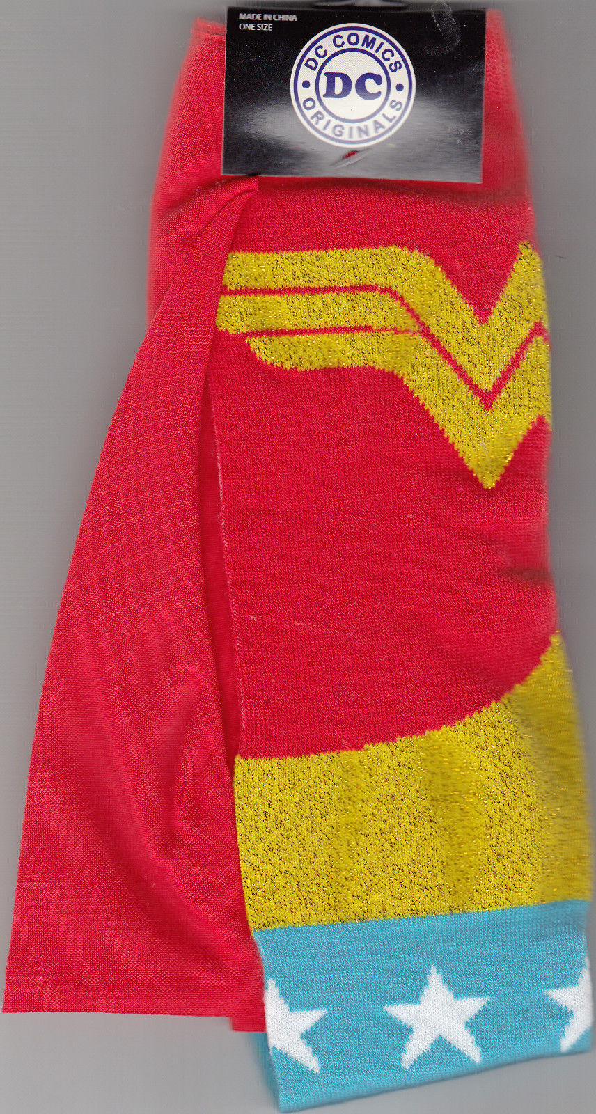 Wonder Woman Socks With Attached Cape,Sock Size 9-11 By DC Comics Original, New