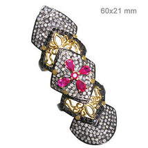 14k Gold Ruby Gemstone Pave 2.9ct Diamond Finger Knuckle Ring 925 Silver... - $1,247.40