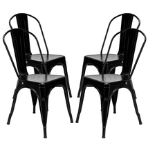 4pcs Industrial Style Iron Sheet Chair Black - $129.50
