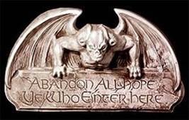 Gothic Abandon All Hope Gargoyle Wall Hanging Sign Halloween Haunt Prop ... - $39.99