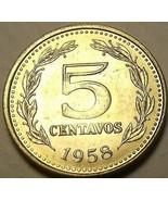Gem UNC Argentine 1958 5 Centavos ~ Liberty Casquette Tête - $4.45