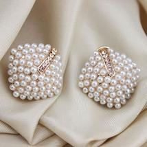 OL Style Women Stud Earrings Pearl Rhombus - $14.99