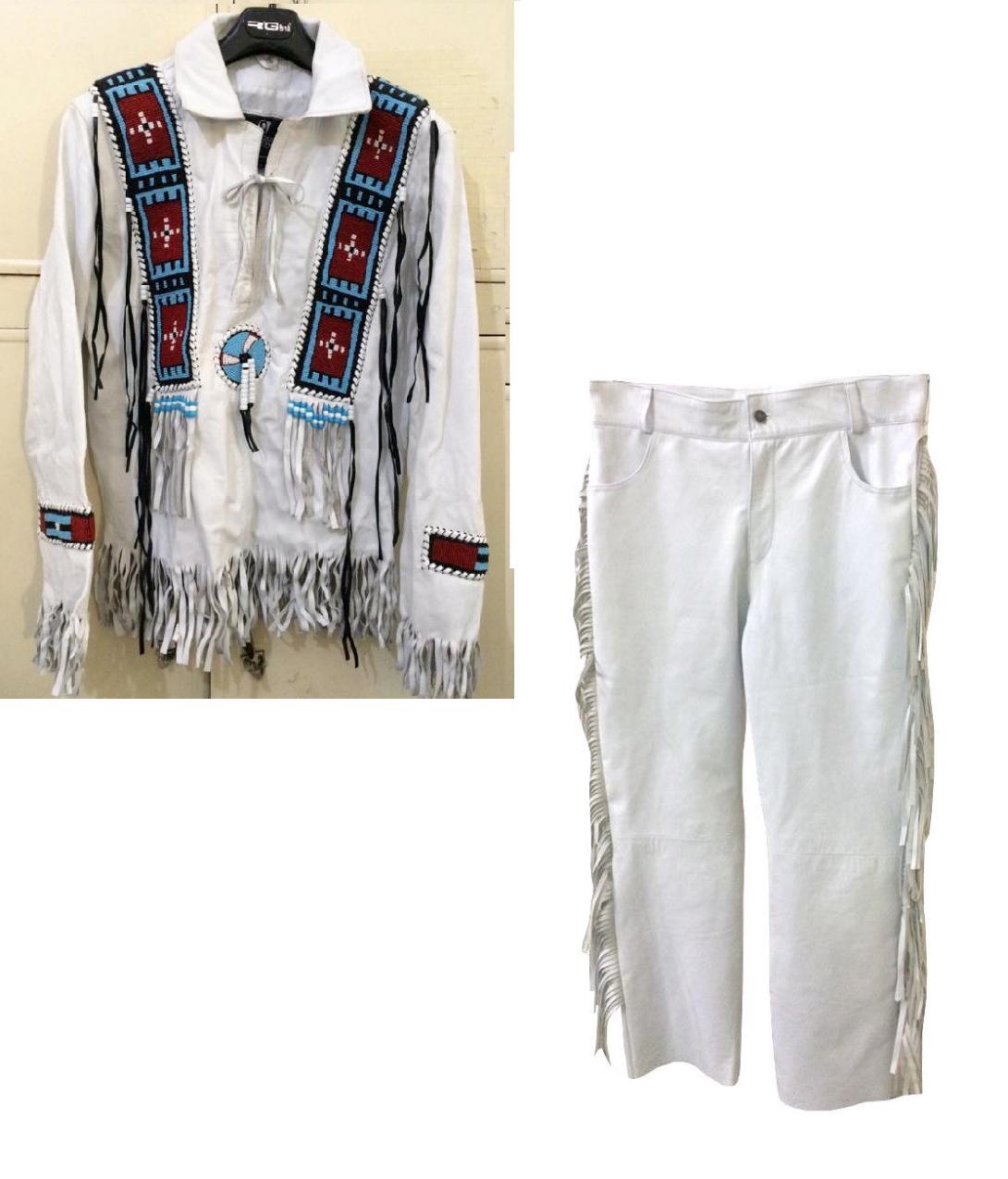 Men's New Native American Buckskin White Leather Beads Hippie Shirt & Pant WS72
