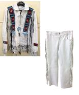 Men's New Native American Buckskin White Leather Beads Hippie Shirt & Pa... - $269.10
