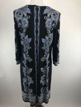 Sandra Darren Womens Dress 14 Blue Floral Print Shift Keyhole Scoop Neck A3-05P image 6