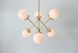 Modern Brass Globe Chandelier Lighting Fixture, 6 Warm Glass Globes Chan... - £258.26 GBP
