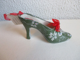 Department 56 Green and silver High Heel Shoe Christmas ornament - $5.99