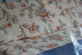 Percale Flat Sheet Full Bed Tan Flowers Bouquet Vintage  - $29.66