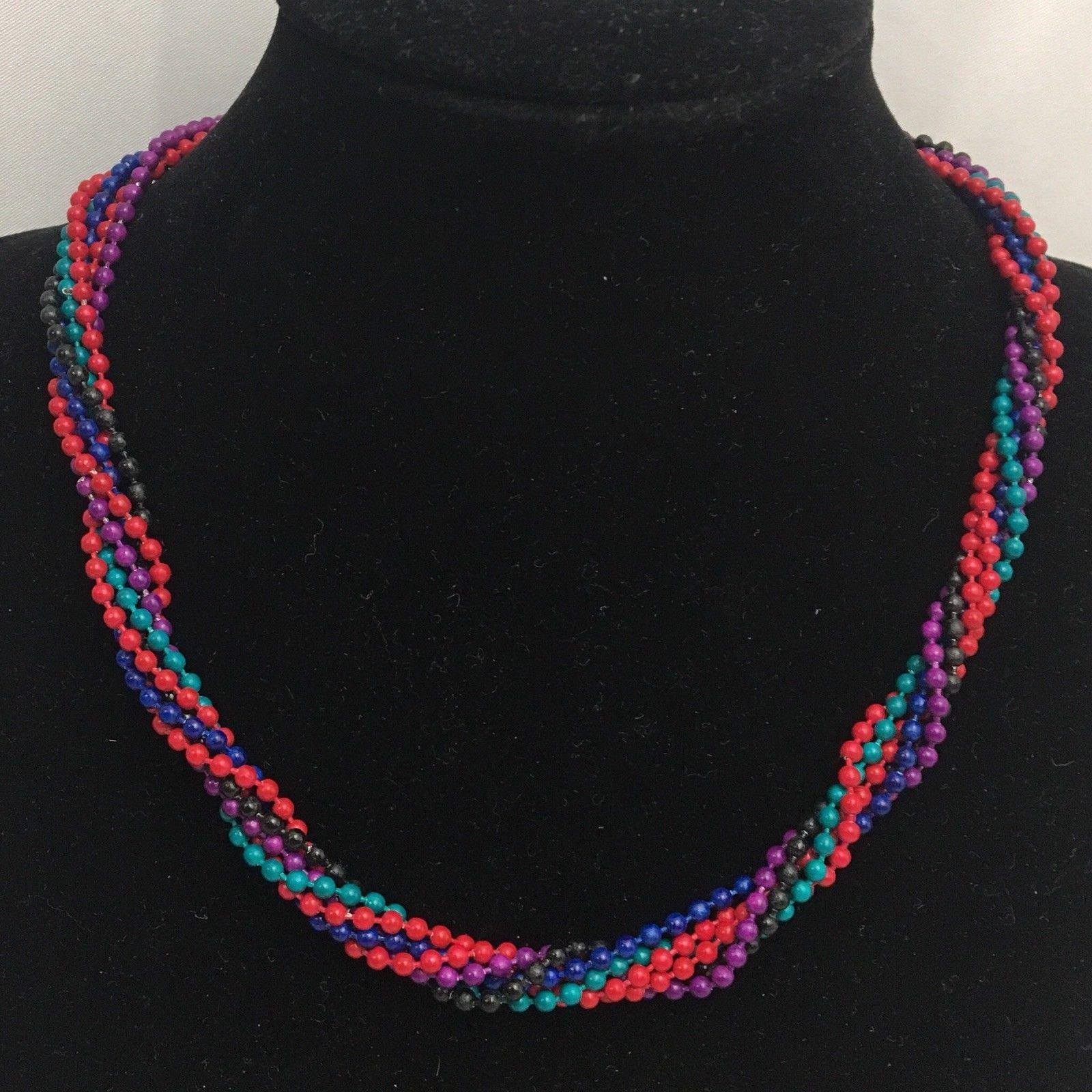 Vintage Beaded Necklace Hoop Earrings Lot 1980s Colorful Yellow Metal Hoops