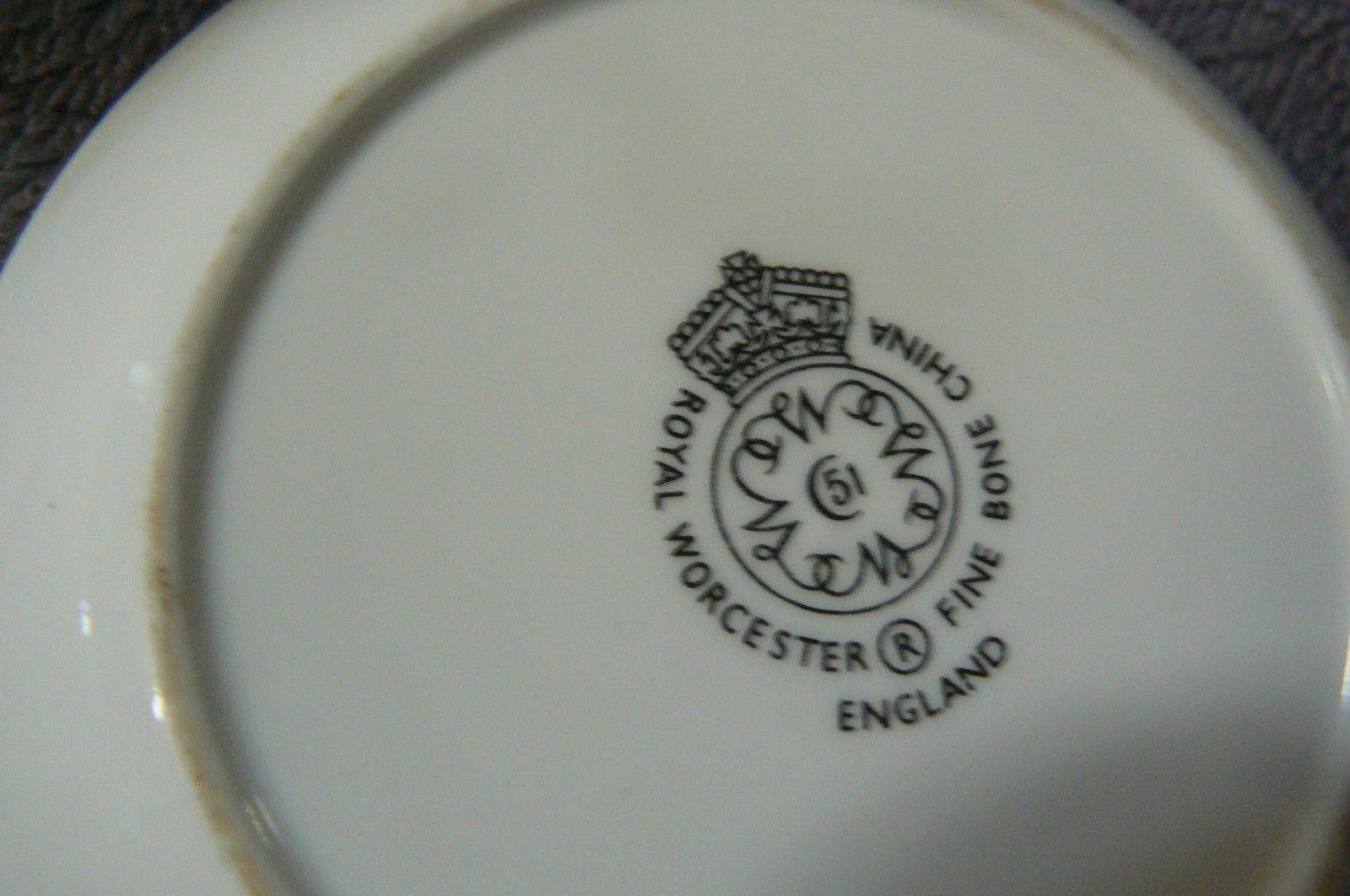 """Vintage Royal Worcester """" Woodland """" 2 Butter Pats & 1 Oval Toothpick Holder"""