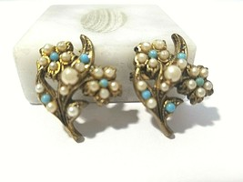 PAIR OF SCATTER PINS VINTAGE FAUX PEARL BLUE AND GOLD TONE - $9.00