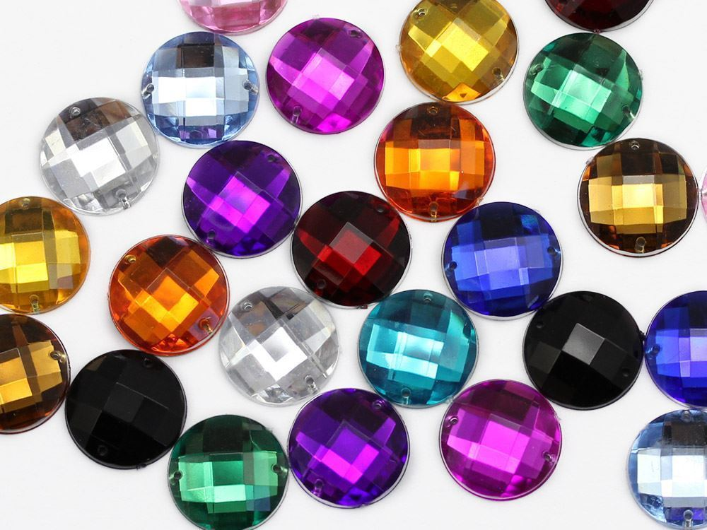 16mm Crystal Clear CH38 Round Flat Back Sew On Gems For Craft 40 PCS