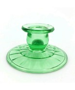 Vintage Block Optic Green Depression Glass Candleholder Taper Anchor Hocking  - $16.57