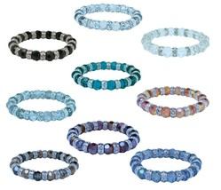 Designer Style Facet Cut Glass Beaded Stretch Bracelet Choose from 12 Colors G1 - $12.99