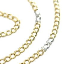 Gold Chain Yellow White 750 18K, 50 cm, Groumette Flat and Infinity, 3 MM image 2