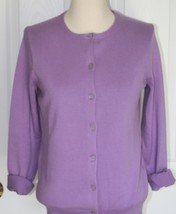 Lands End  Women's LS Supima Crew Cardigan Sweater Fresh Lavender New - $39.99