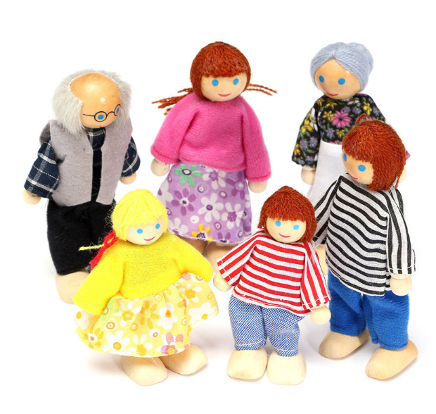 Dolls Toy 6Pcs Wooden Family Members Set Kids Children Dollhouse Figures Dressed for sale  USA