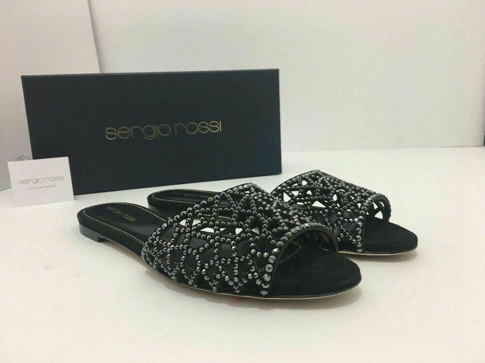 Sergio Rossi Tresor Women's Black Slip On Flats Flip Flop Sandals US 9 M $795