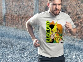 Electro Dri Fit graphic T-shirt moisture wicking superhero comic book SPF tee image 4