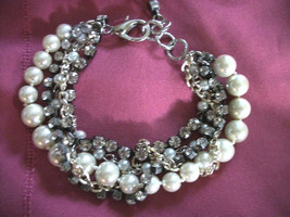 BRIDAL BRACELET PEARLS+RHINESTONES +CHAIN  MULTI STRANDS +EARRINGS - $30.89