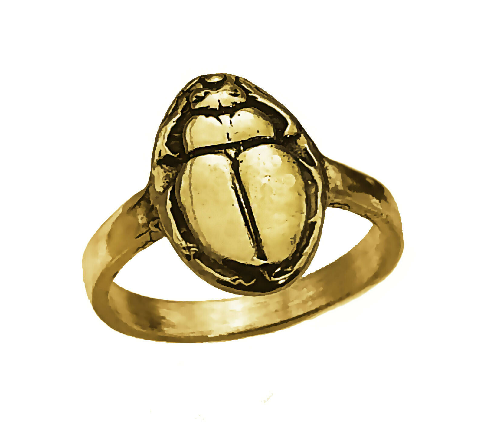 Yellow 24k Gold Plated Egyptian Egypt Ring Scarab beetle Jewelry Choose Size