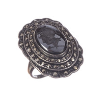 Art Deco Sterling Silver Perseus Carved Hematite Intaglio w/ Marcasite Pave - $185.00