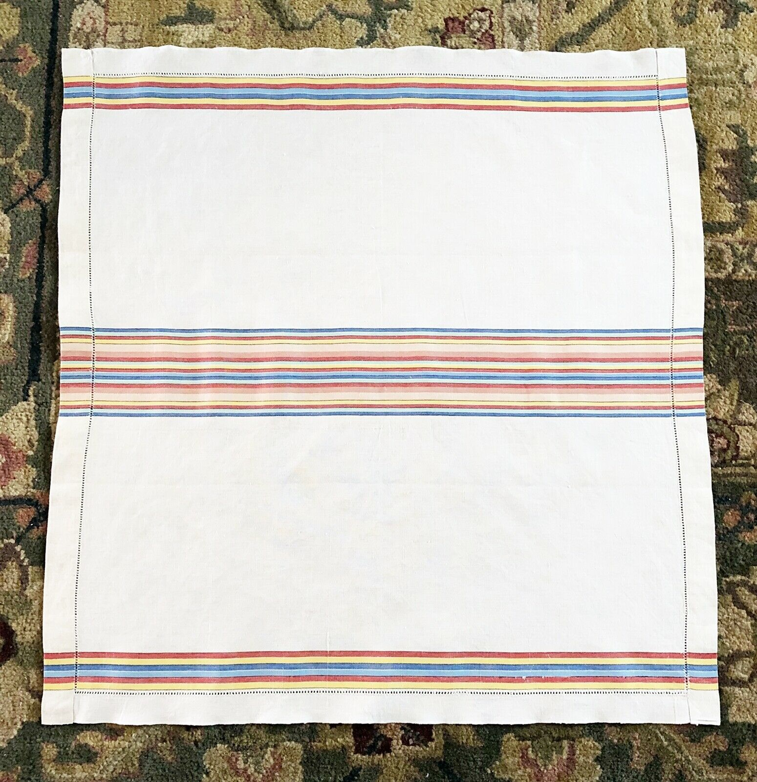 Primary image for Vintage Linen Pulled Drawn Thread Table Topper Cloth Striped 23 x 24