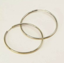 "2"", Vintage Gold Over Sterling Silver Handmade Earrings, 925 Silver Huge... - $25.12"