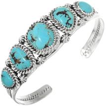 Navajo Five Stone Bisbee ll Turquoise Silver Cuff Bracelet  - $582.00