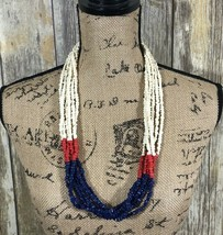 Vintage Seed Bead Red White & Blue Hobo Multi Strand Beaded Necklace 30 Inches - $29.69