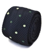 Frederick Thomas knitted navy and green spotted tie - $17.52