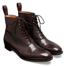 Handmade Men's Dark Brown High Ankle lace Up Leather Boots image 2