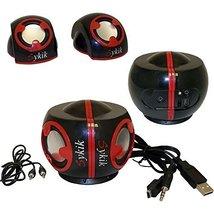 Sykik SP0226BR Buddies 2.0 Channel Multimedia Speaker System - Red & Black - $25.80