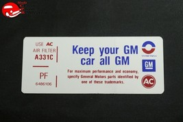73 Pontiac 350-4V Keep Your GM All GM Air Cleaner Decal PF 6486106 - $999.99