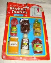 Vtg KITCHEN TASTIES Barbie Sized Doll Jars Food Plastic Magnets Set on Card - $9.99