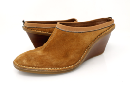 Cole Haan Womens 9.5AA Tan Suede Slip On Mules Open Back Wedge Heel D20176 - $29.99