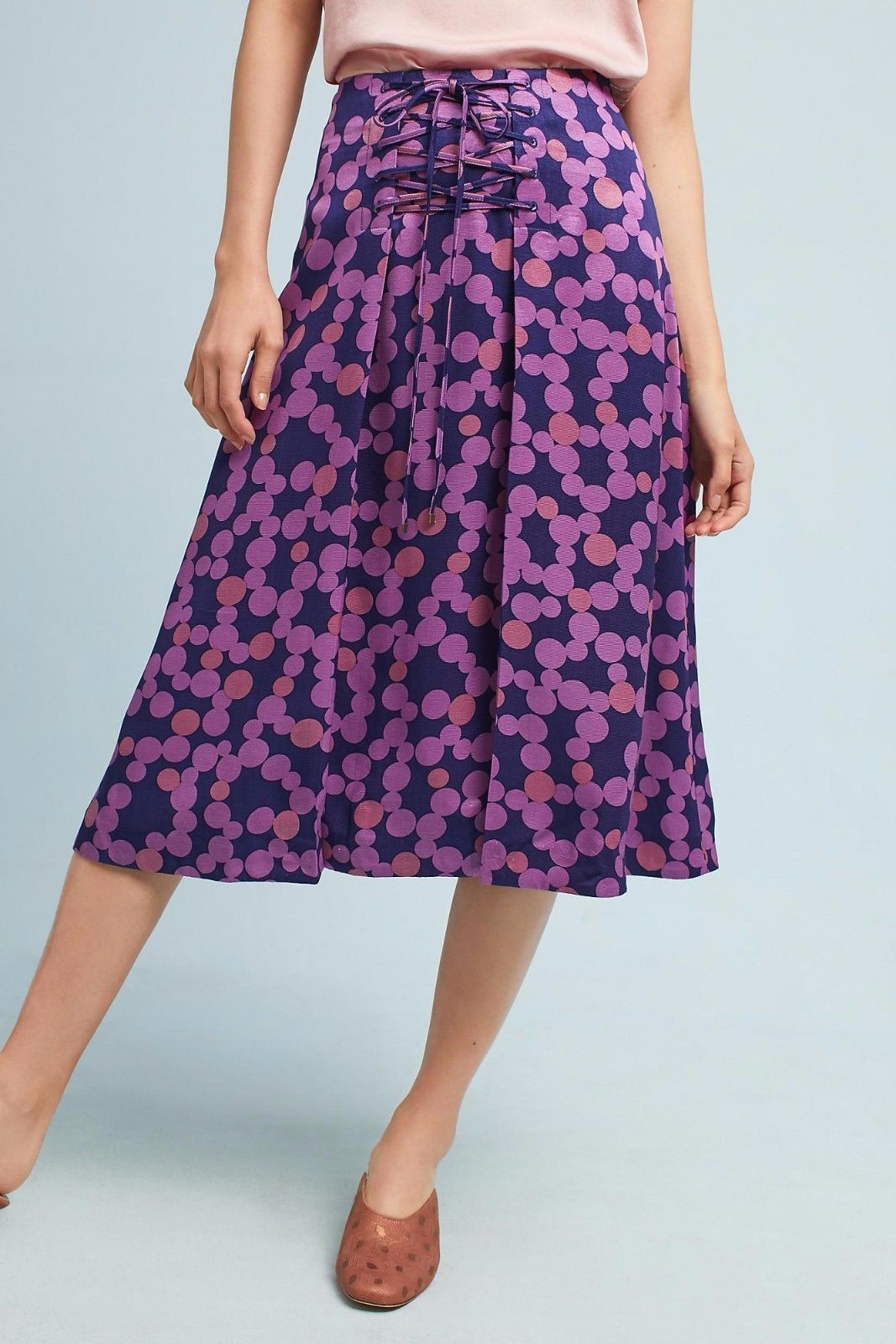 Primary image for NWT ANTHROPOLOGIE ZADIE LACE-UP PLUM PRINT MIDI SKIRT by MAEVE 8