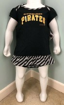 NWT Girls Toddler MLB Pittsburgh Pirates Snap Up Dress & Bib Sz 24 Months - $14.84