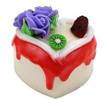Set of 2 Artificial Cake Lifelike Cake Model Heart-shaped Fake Cake, Purple Rose - $13.07