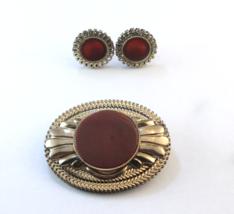 Vintage Gold Plate Carnelian Brooch / Pin & Earrings - $75.00