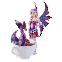 Amy Brown Get Out Of My Hot Tub Dragon Tea Cup Faery Statue 2016 Collection - $36.62